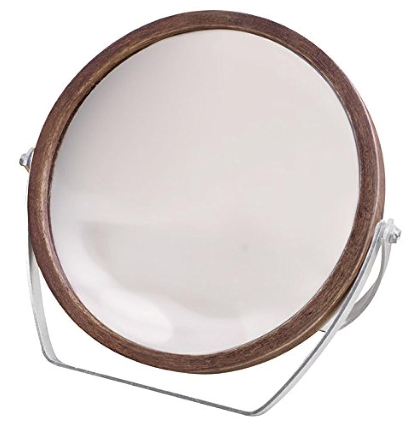 抱擁適応するペネロペウッドフレーム 2WAY 5倍拡大鏡付 両面 卓上ミラー (ロースタンドタイプ) ブラウン YWM-1