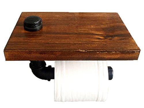 P3 パイプ型 ビンテージ ペーパーホルダー 棚付き レトロ アイアン トイレ キッチン トイレットペーパーホルダー タオルハンガー アンティーク調 (ブラック)の写真