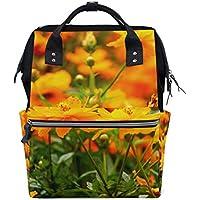 ママバッグ マザーズバッグ リュックサック ハンドバッグ 旅行用 秋の花柄 黄色 ファション