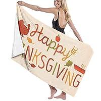 KOKOKOW バスタオル Happy Thanksgiving ビーチタオル ソフトタオル 大判ビーチマット 吸水性バスビーチタオル 軽量 速乾 大きい 薄手 おしゃれ 海水浴 花見