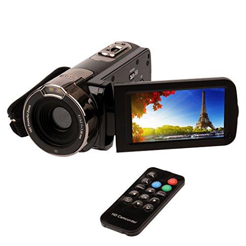 (inkint)フルハイビジョンビデオカメラ 2400万画素 1080P 16倍デジタルズーム 270度回転 ナイトビジョン機能 リモコン SDカード(最大32GB) ブラック