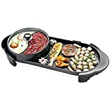 2-in-1 1500W BBQ Hot Pot Oven Non-Stick Smokeless Grill Teppanyaki Barbecue Set for 2-5 People
