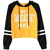 ECOLIVZIT Women Hoodies Funny Letter Print Long Sleeve Lightweight Crop Top