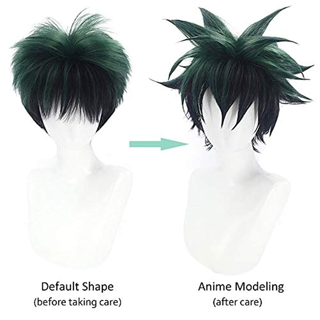 彼らは当社嫉妬1ピースショートブラックグリーンアニメコスプレウィッグ2色グラデーションコスプレウィッグマット高温シルク合成反反りウィッグ無料ウィッグキャップ付き