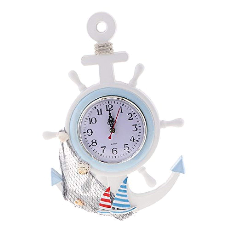 Homyl 地中海 スタイル アンカー 時計 壁掛け 装飾 飾り 時間 多種選べる  - g