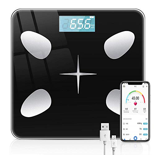 体重計 体組成計 体脂肪計 Bluetooth LCDデジタル表示 強化ガラス 高精度センサー スマートスケール 体重/体脂肪率/BMI/BMR/体内水分/骨量/骨格筋など測定 健康管理 最大180KGまで測り