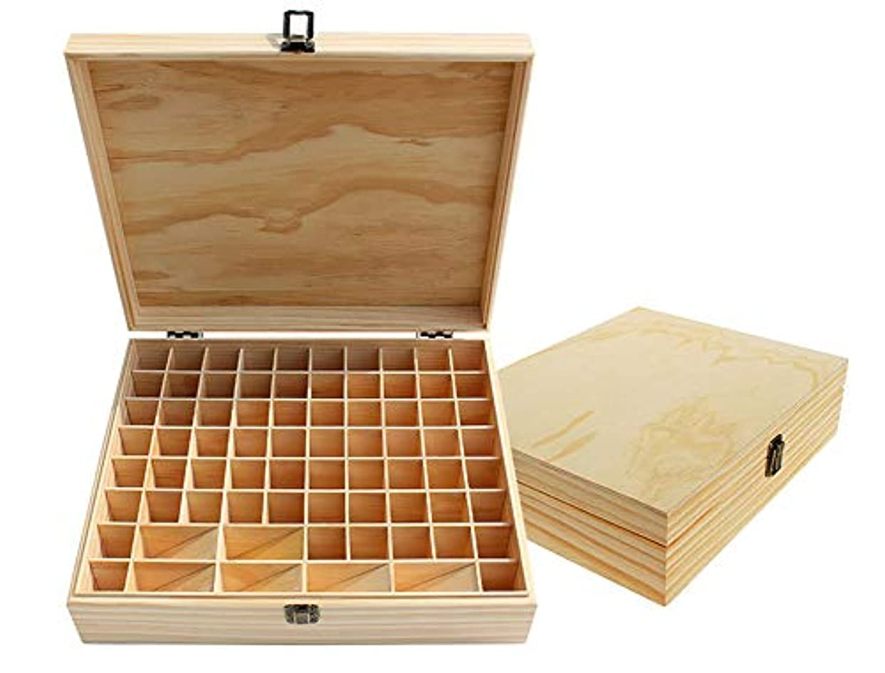 火罪肉屋エッセンシャルオイル収納ボックス 74本用 木製エッセンシャルオイルボックス メイクポーチ 精油収納ケース 携帯用 自然ウッド精油収納ボックス 香水収納ケース