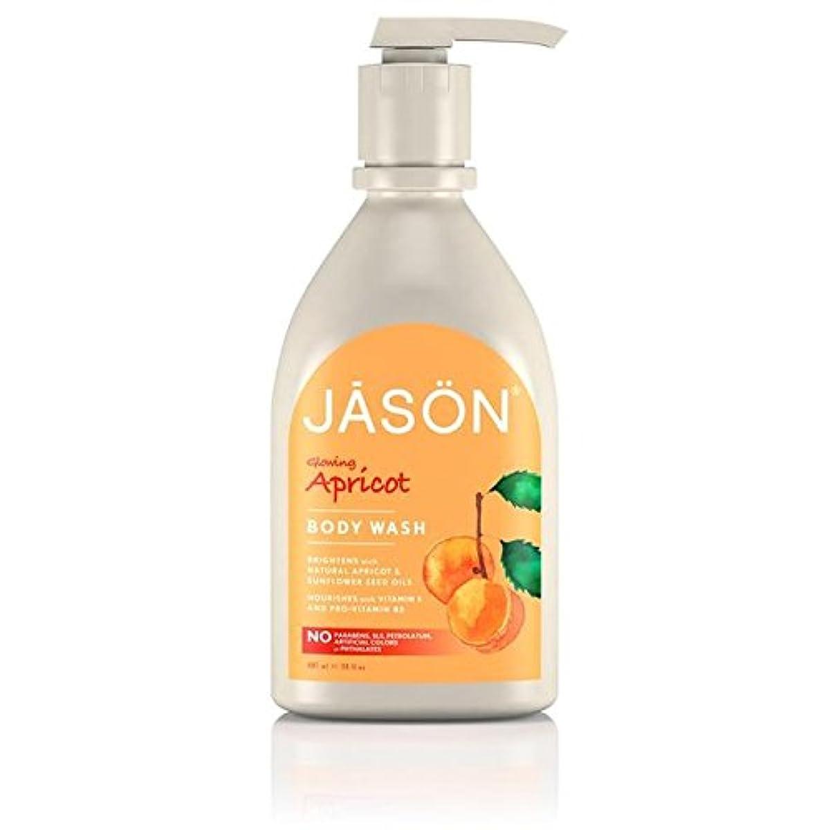 ジェイソン?アプリコットサテンボディウォッシュポンプ900ミリリットル x4 - Jason Apricot Satin Body Wash Pump 900ml (Pack of 4) [並行輸入品]
