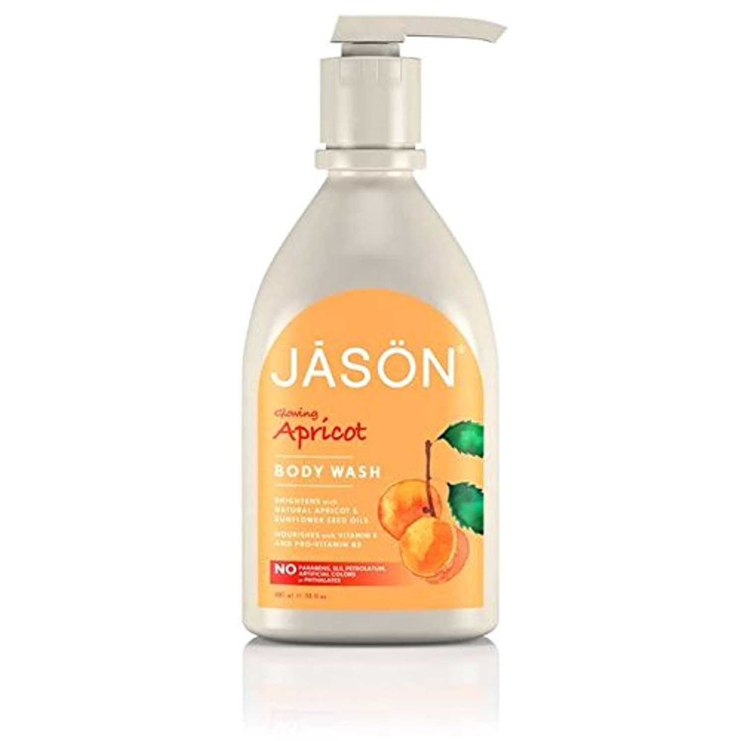 暫定どきどき集中的なジェイソン?アプリコットサテンボディウォッシュポンプ900ミリリットル x4 - Jason Apricot Satin Body Wash Pump 900ml (Pack of 4) [並行輸入品]