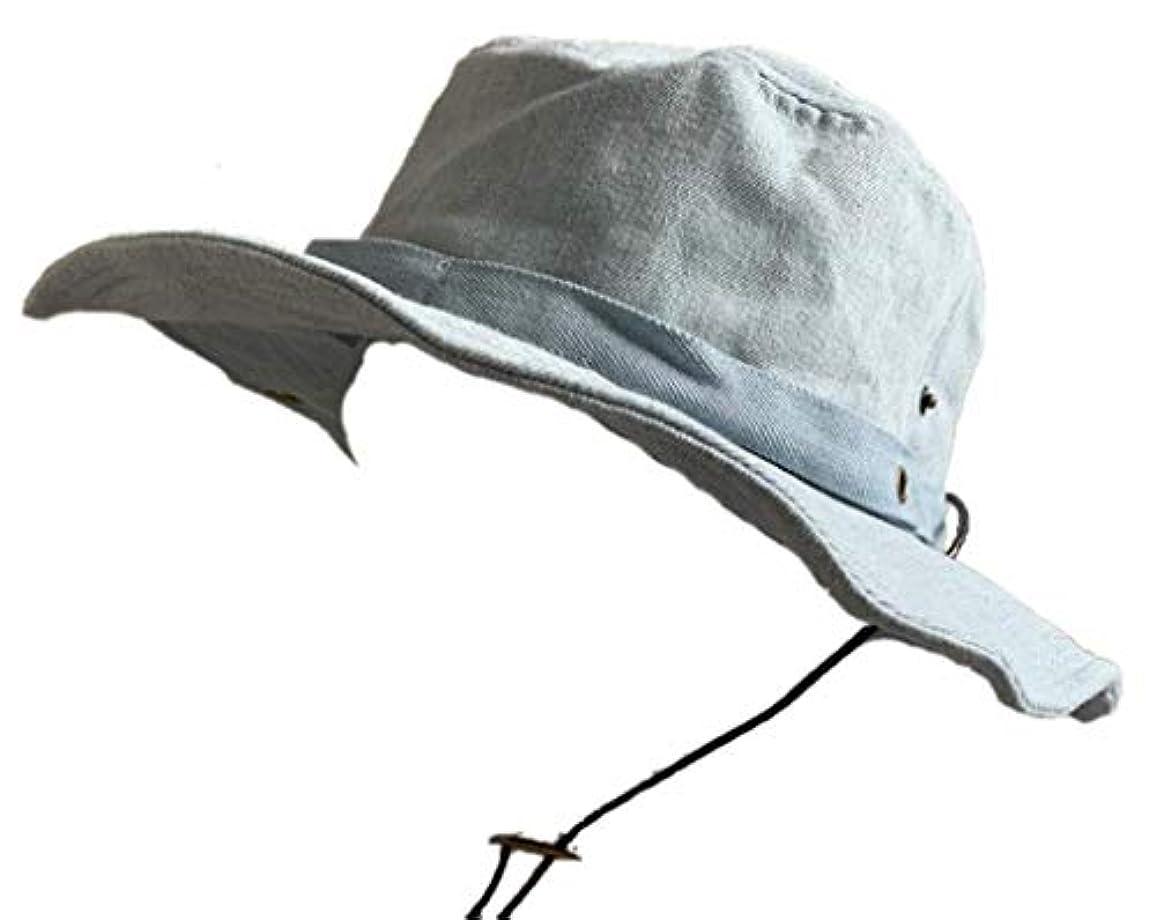 けん引性格精算no brand (カラー : デニムサックス )( サイズ : 61cm ) 帽子 BIG L サイズ バイオウォッシュ サファリ ハット アドベンチャーハット UV99%カット ダメージ加工 オールシーズン 男女兼用 海 山 アウトドア つば広 日よけ 大きい