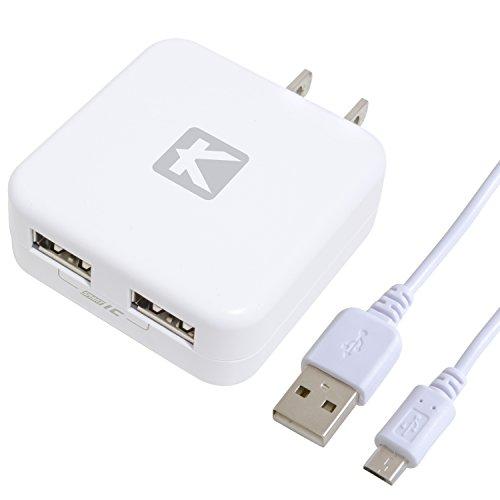 KYOHAYA USB2ポート 2台同時急速充電器 2.4A ACアダプター マイクロUSBケーブルキット iPhone Android IQOC対応 スマートIC搭載 可動式プラグ採用  ホワイト JKIQ80MWH