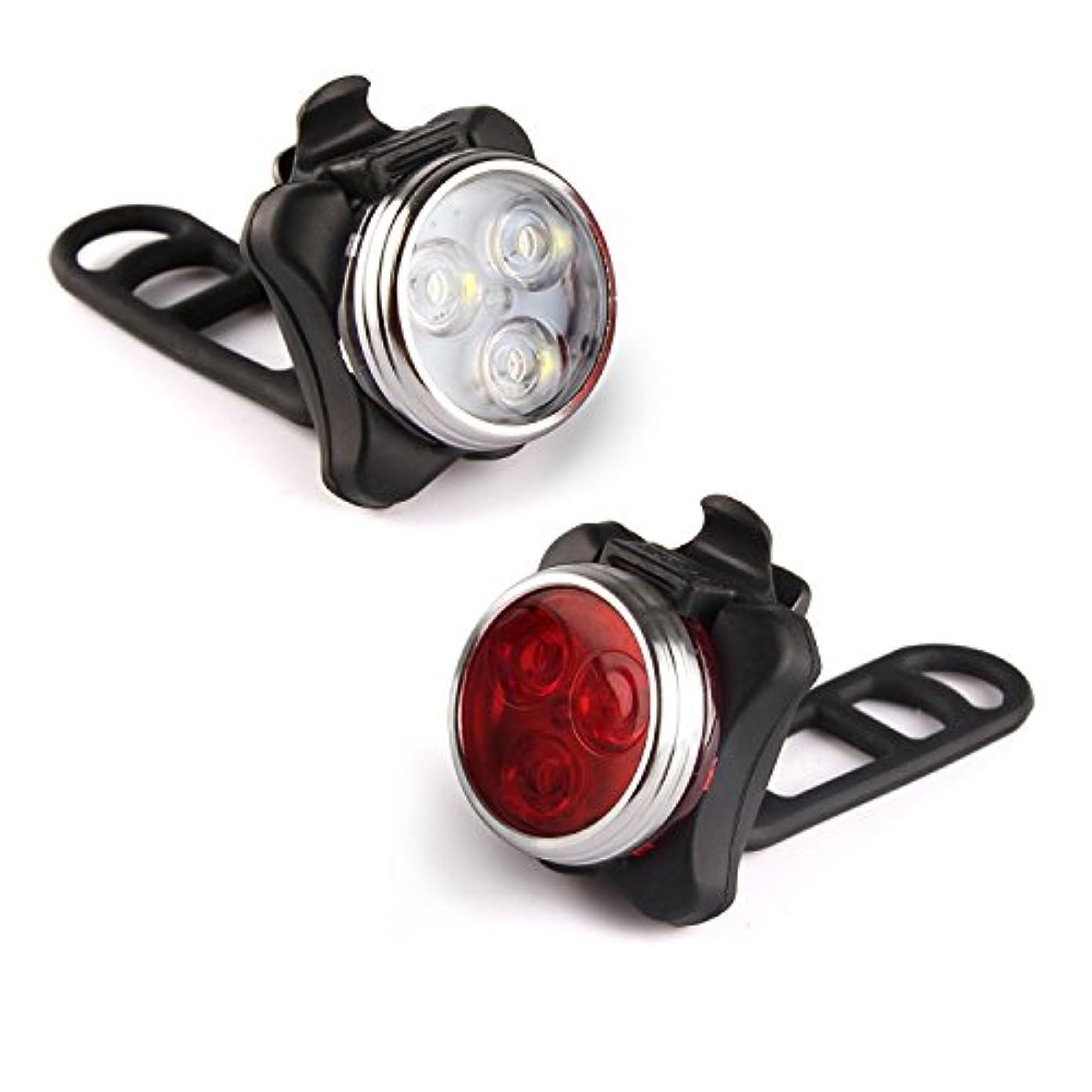 オセアニアエゴイズム慣れている4つのライトモードのオプションUSB充電式自転車ライトセット、防水IPX4スーパーブライトフロントヘッドライトとフリーリアLED自転車ライト、すべてのバイクにフィット