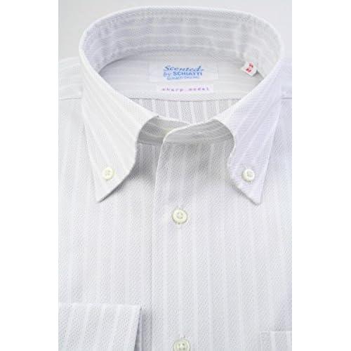 (スキャッティ) Scented グレー系 ドット & 白抜きストライプ 綿100% ボタンダウン (細身) ドレスシャツ bd4143-4185