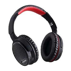 AUSDOM (オースダム) Bluetooth 4.0 ワイヤレス ノイズキャンセリングヘッドホン 密閉型 ステレオヘッドセット ANC7 ブラック+レッド