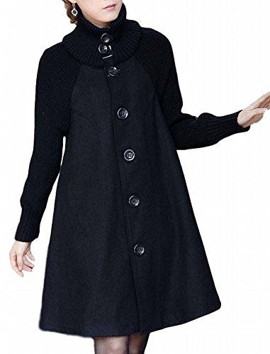(ヴォンヴァーグ) ventvagueあったか ニット Aライン アウター ロング コート 赤 灰 黒 M L XL レディース (03.XL, ブラック)