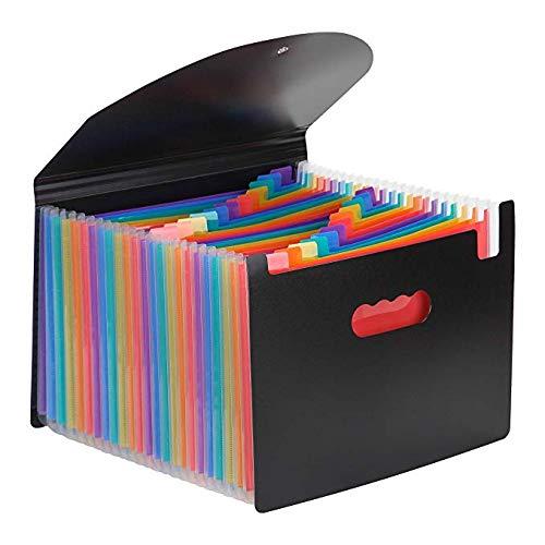 ドキュメントスタンドA4 25ポケットファイルボックス 書類ケース 収納ボックス 整理 自立型(カラー)