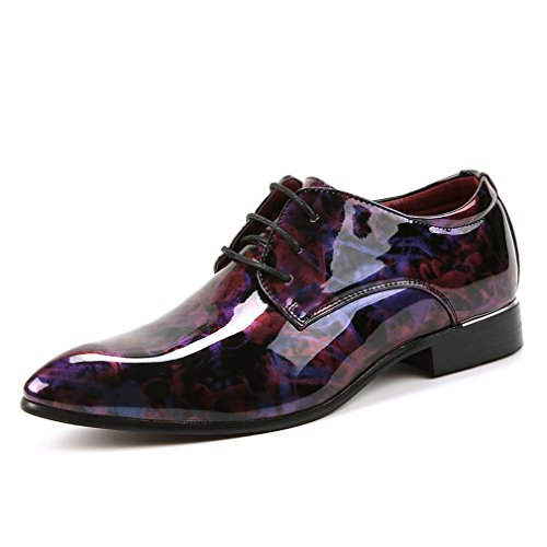 [QIFENGDIANZI]ビジネスシューズ メンズ エナメル 紳士靴 ドレスシューズ 高級感たっぷり 通勤 就職 結婚式 フォーマル ウォーキング オシャレ 迷彩 コンフォート 革靴  オールシーズン 27.0cm パープル