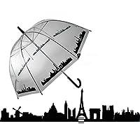 "OOTB White Dome Umbrella with Black Paris Skyline Border, 33.46"""