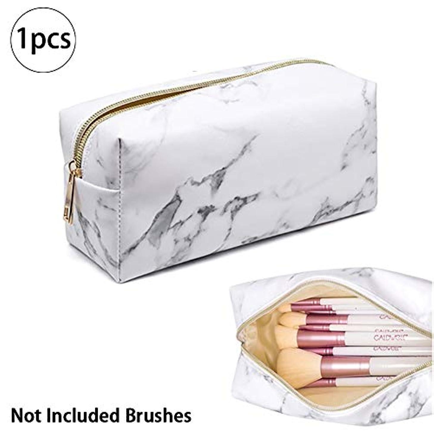 衝突のため切り下げ1PC大理石化粧バッグオーガナイザーポータブルトイレブラシ化粧品のバッグは、女性のためのバッグPuの金ジッパー鉛筆収納ボックス(白)旅行します