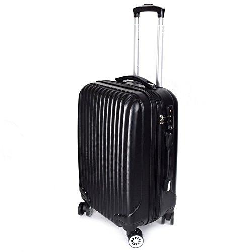 【神戸リベラル】LIBERAL 軽量スーツケース キャリーバッグ 容量アップ 8輪キャスター TSAロック付き (Sサイズ(1-3泊用 40/50L), ブラック)