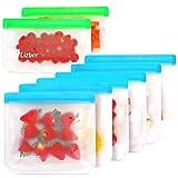 Reusable Storage Bags 8 Pack, 6 Reusable Sandwich Bags & 2 Reusable Snack Bags, Leakproof Ziplock Freezer Bags BPA Free, Heavy Duty Rezip FoodStorageBags Reusable Lunch Snack Bags for Kids Women Men