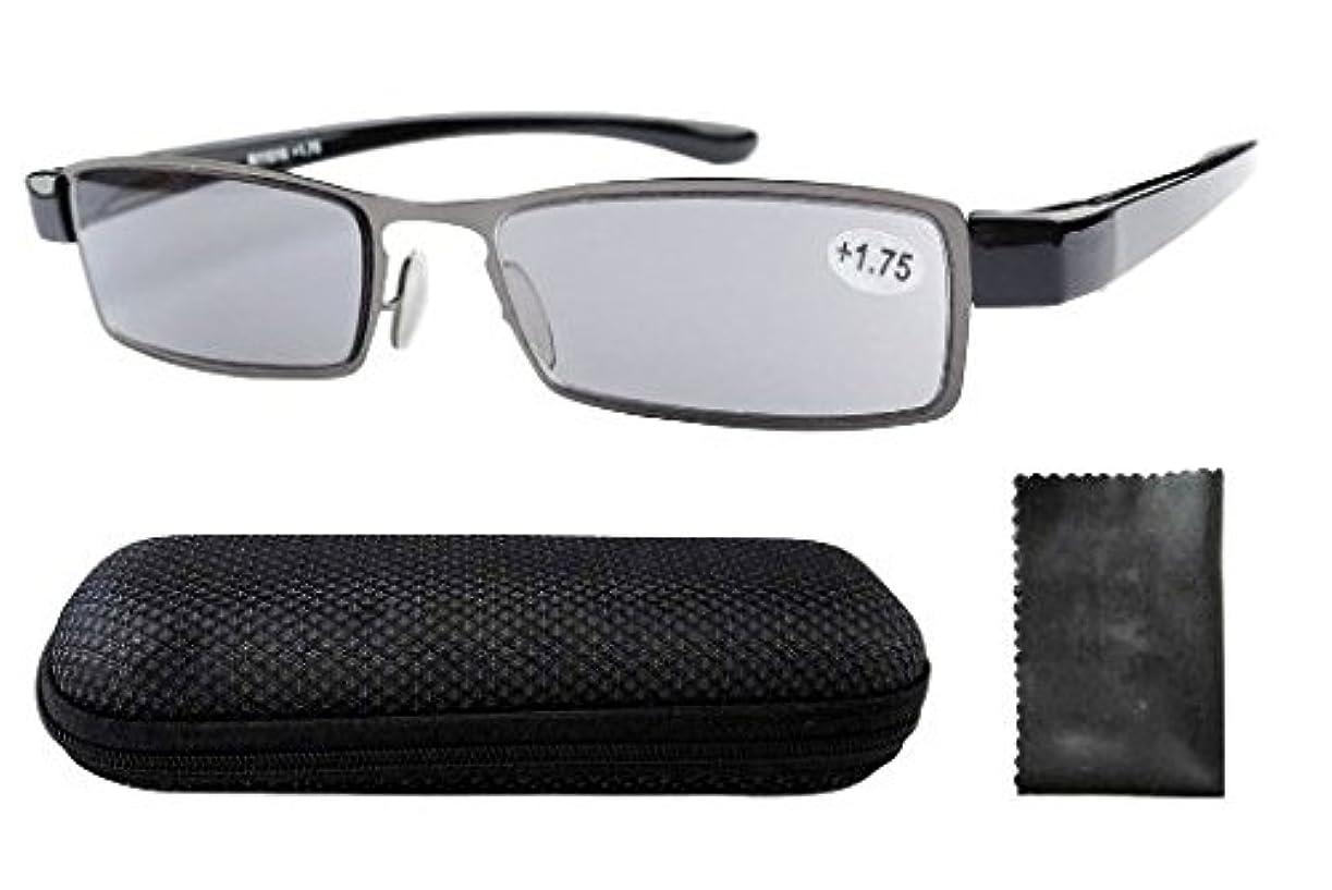 野な訪問思慮のないアイキーパー(eyekepper)軽量 ステンレススチールフレーム グレーレンズ 屋外読書用 メンズ レディース リーディンググラス シニアグラス 老眼鏡 ケース&クロス付 (+1.25)