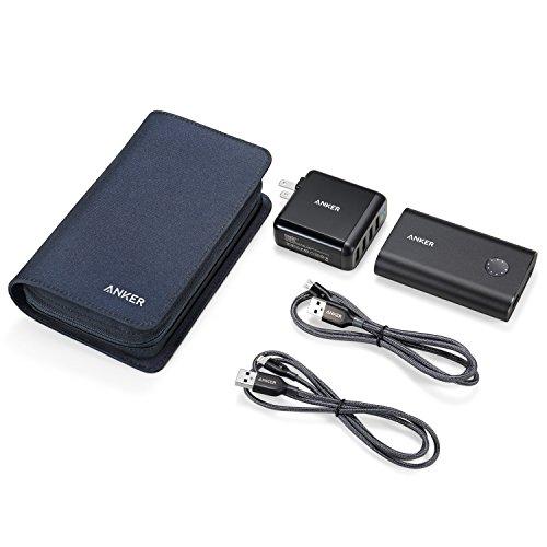 Anker PowerPack 【PowerCore+ 10050 QC3.0、PowerPort 4、PowerLine+ ライトニングUSBケーブル & Micro USBケーブル、トラベルケース付属】
