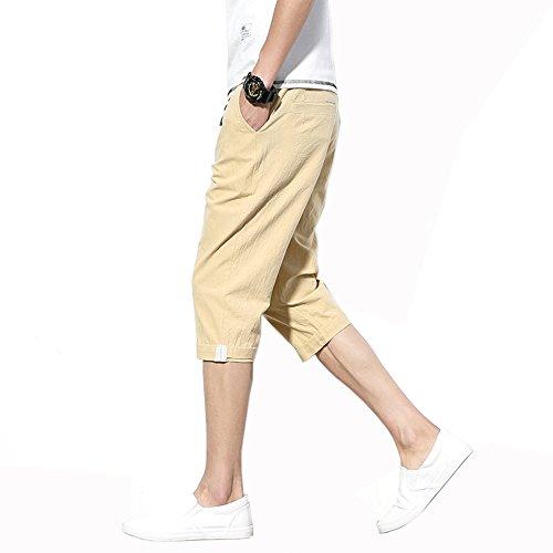 EIMEI メンズ リネン ショートパンツ 夏服 夏物 七分丈 ハーフパンツ お兄系 無地 短パン 涼しい ファッション 大きいサイズあり M~5XL (L, カーキ色)