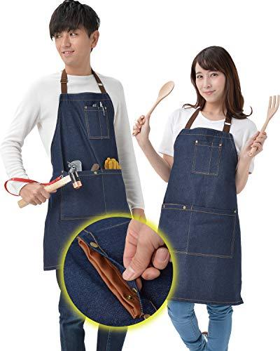 【ハサミを入れても安心「レザーポケット」付】 エプロン デニム GUAPO Ver.2 デニムエプロン 首掛け 身長に応じて長さ調節可能 男女兼用