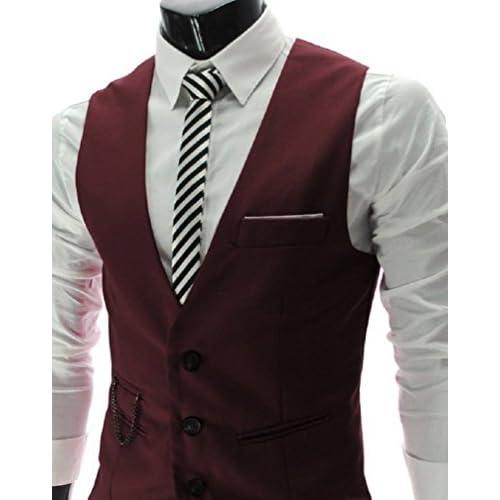 【ARINCO】 メンズ Vネック ベスト スーツ フォーマル 男前 大きい サイズ M L XL XXL (ワインレッド,L)