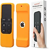 Akwox Light Weight [Anti Slip] Shock Proof Silicone Cover for New Apple Tv 4th/4k Generation Siri Remote Controller (Orange)