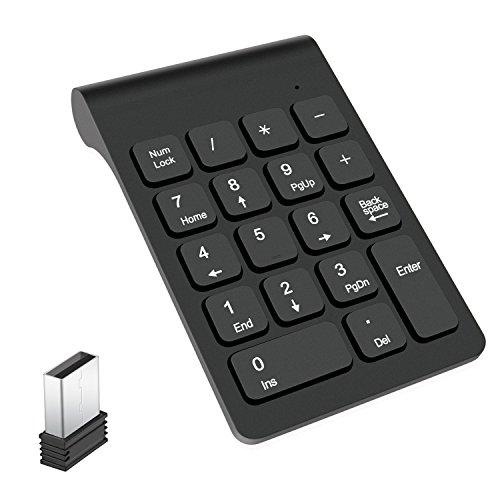 テンキーボード ワイヤレス テンキーパッドLevens 2.4GHz 超薄型 持ち運び便利 1000万回高耐久USBレシーバー付き (ブラック1)