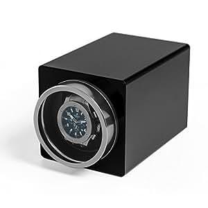 CRITIRON ワインディングマシーン 1本巻き 静音設計 ウォッチワインダー 3つ巻き取りモード 4つ回転設定 【改良版】 (0+1, ブラックf1)