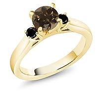 Gem Stone King 1カラット 天然 スモーキークォーツ (ブラウン) 天然ブラックダイヤモンド シルバー925 イエローゴールドコーティング 指輪 リング