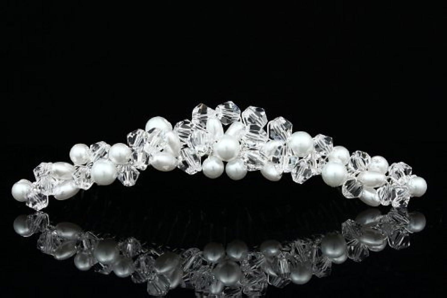 ふりをする押す低下Handmade Faux Pearl Crystal Bead Cluster Bridal Wedding Tiara Comb - Silver Plated FC039 [並行輸入品]