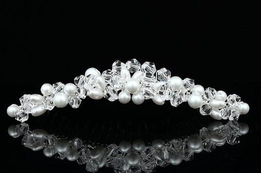 純度舞い上がる消費者Handmade Faux Pearl Crystal Bead Cluster Bridal Wedding Tiara Comb - Silver Plated FC039 [並行輸入品]