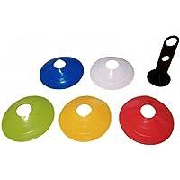 KMS マーカーコーン カラー ディスク コーン 5色 50枚セット サッカー フットサル 練習 収納棒付き