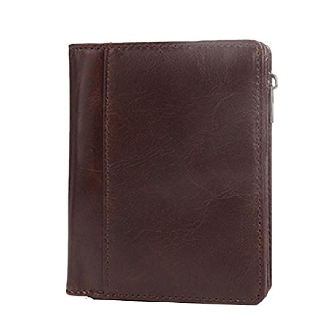 武器ネイティブマウンドZhhlaixing 高級財布 Mens Soft Cowhide Leather Wallet Fold Design Best Purse with Zipper Pocket