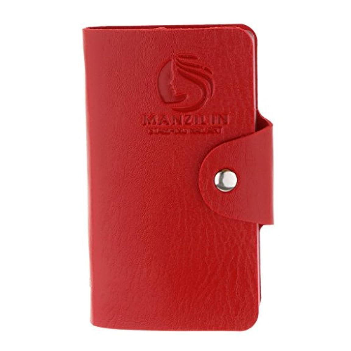 振幅支配するキウイFenteer オーガナイザーケース バッグ プレートスタンパーバッグ 24スロット ネイルアート ホルダー 収納 5色選べ - 赤