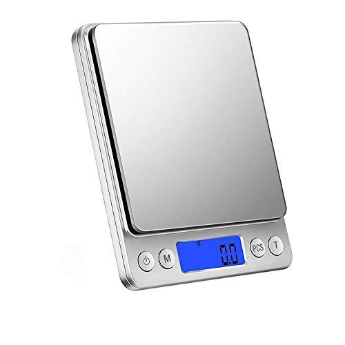 デジタルスケール デジタルキッチンスケール 精密皿はかり 多機能クッキングスケール 超高精度電子はかり 0.1gから3000gまで計量可能 計数機能 風袋引き機能 オートオフ機能付き精密な電子はかり (シルバー)