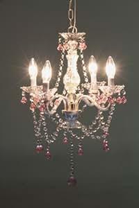不二貿易 シャンデリア 4灯 タイプ 電球:E12 LED対応 6畳用  クリア ピンク 94448