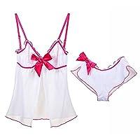アダルトグッズ アダルト下着 ホワイトローズレッドのエッジングストラップオープン胸のセクシーな女性のパジャマセット (Size : L)