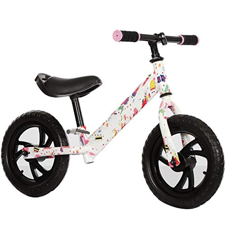 YUMEIGE ペダルなし自転車 ペダルなし自転車 発泡ホイール、 幼児用 ペダルなし自転車,高炭素鋼フレーム、 バランスバイク プライマリーレベル、ブラック、ピンク、ホワイト (Color : White)