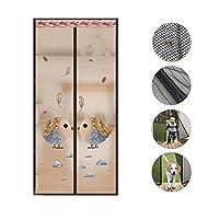 印刷 磁気スクリーンドア,マジックテープミュート高密度 メッシュ網戸 手無料網戸-昆虫のフライを防ぐ-a 80x210cm(31x83inch)