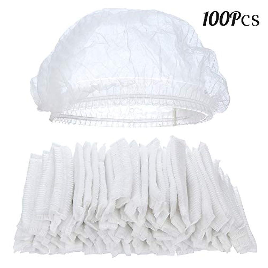 反発グリップ豊富に100ピースクリア使い捨てプラスチックシャワーキャップ大きな弾性厚いバスキャップ用女性スパ、家庭用、ホテルおよび美容院