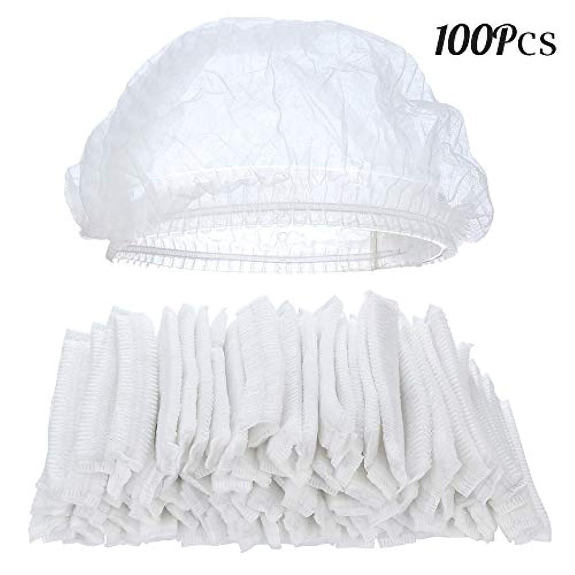 びっくりする食品持ってる100ピースクリア使い捨てプラスチックシャワーキャップ大きな弾性厚いバスキャップ用女性スパ、家庭用、ホテルおよび美容院