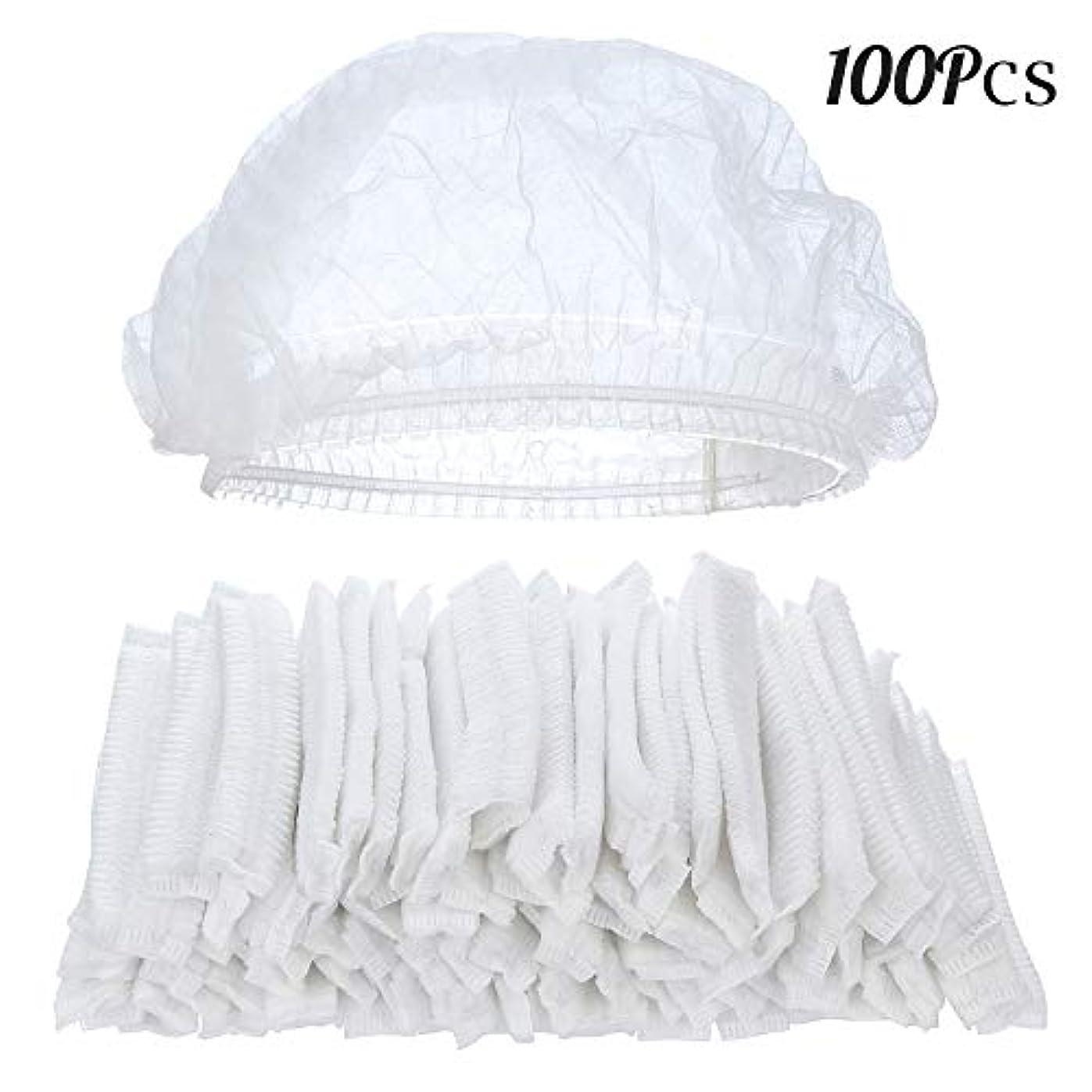固めるそのような不十分100ピースクリア使い捨てプラスチックシャワーキャップ大きな弾性厚いバスキャップ用女性スパ、家庭用、ホテルおよび美容院
