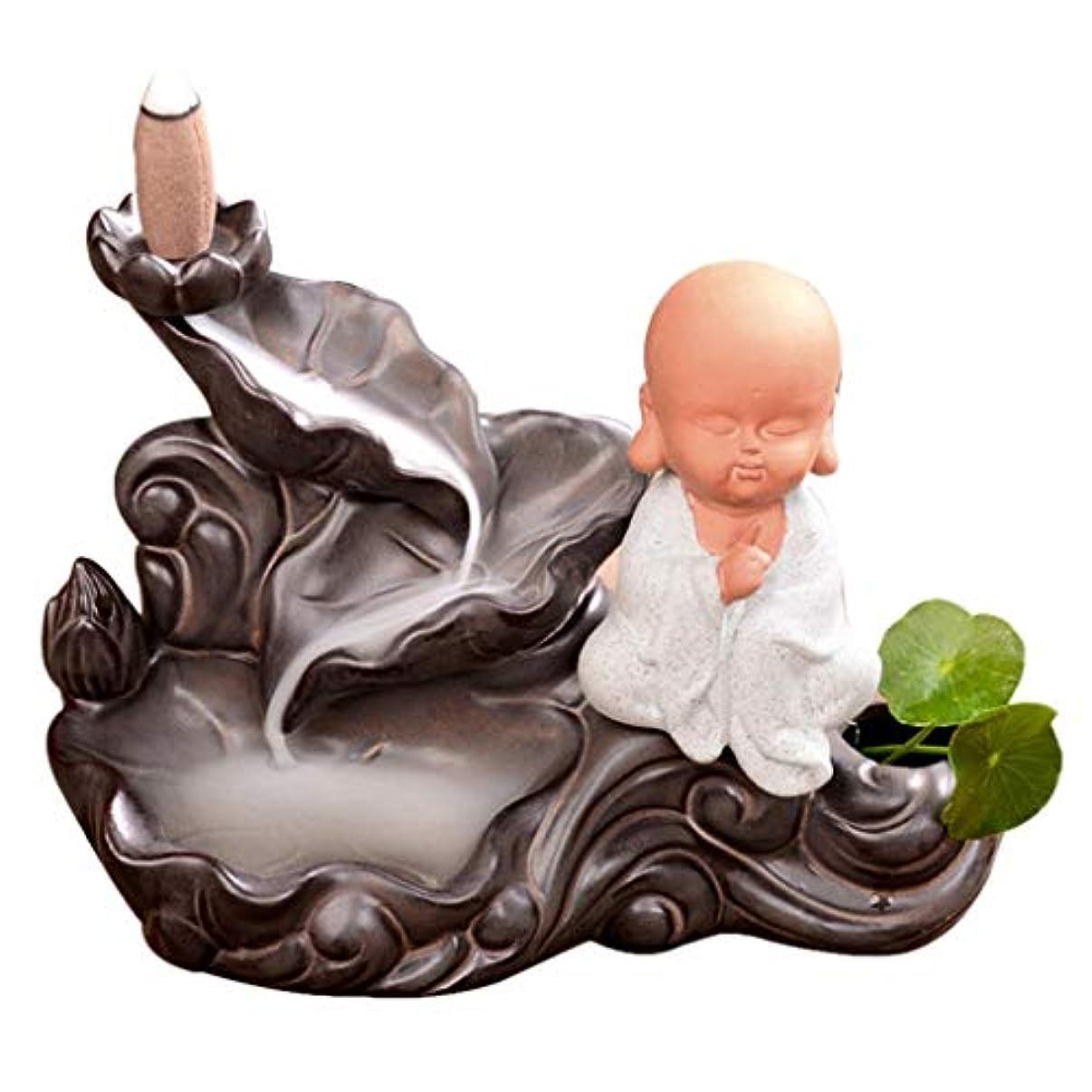 ホームアロマバーナー リトルモンクロータス逆流香炉家の装飾セラミック香炉煙ホルダー仏教香炉コーンベース 芳香器アロマバーナー (Color : B)