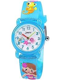 Hiwatch 腕時計 子供用 人魚柄 3Dの人魚柄 生活防水 アナログ ブルー