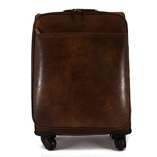 Made In Italy Genuine Leather Travel Trolley With Multi-directional Wheels Color Dark Brown - Travel Bag